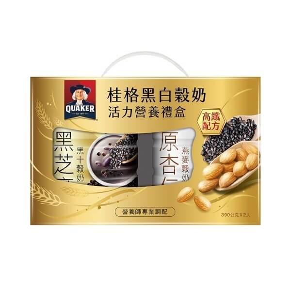 桂格 黑白穀奶超級營養2入禮盒-390g*2罐