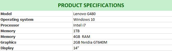 i7 Nvidia Gaming Lenovo G480